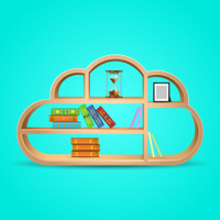 books on wooden shelf cloud shape eps10 vector illustration
