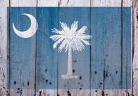 Flag of South Carolina Stencilled on Rustic Worn Wood