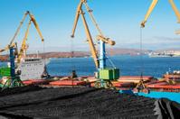 Huge stock of coal in the seaport.