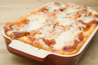 Lasagna with meat sauce and cheese