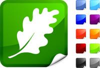 oak leaf royalty free vector art on a Sticker