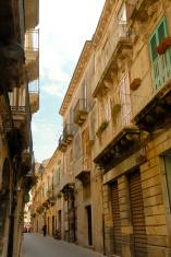 Narrow street in the morning Syracusa