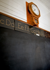 Vintage School Blackboard and Clock