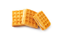 Three pieces of belgian waffles isolated on white