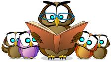 Wise Owl Teaching Reading Cartoon