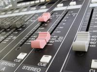 audio mixer close up