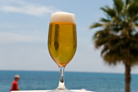 glass beer - on the sea