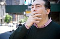 American Italian Man Portrait, Smoking on City Sidewalk, Copy Sp
