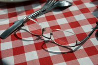 Glasses on tablecloth