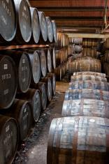 Wooden whisky barrels