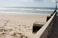Wood railing on beach #2