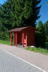 bus stop in the village