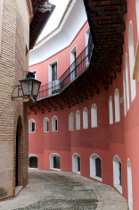 Narrow street in Pueblo Espanol, Palma, Mallorca
