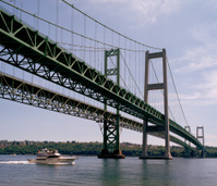 Inbound Yacht Clearing Tacoma Narrows Bridges