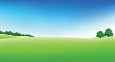 Panoramic golf field scenery