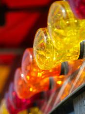 Colourful fairground lights.
