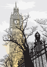 Big Ben on a Grey London Morning