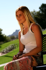 Blonde waiting in the Park