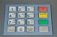 Cash withdrawal keyboard
