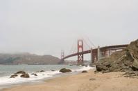 Golden Gate Bridge shrouded in fog