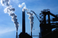 Steel factory and smoke