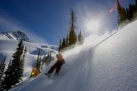 Snowboarder Rides Powder