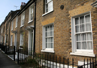 London terraced flat fronted houses