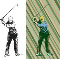 Golfer Swinging Golf Club - Teeing Off