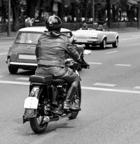 Vintage motorbike rider.