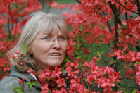 Funny Mature woman Portrait in Azaleas