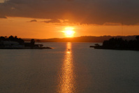 Sunset on the lake around Flores Guatemala