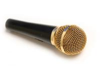 Studio shot of Golden Microphone