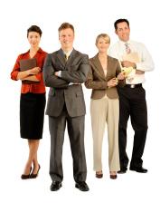 powerfull management team on white