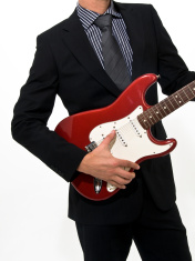 Business man Guitar Fender Stratocaster suit and tie.