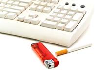 keyboard, cigarette and  lighter