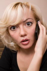 Business Woman with Mobile Phone: Really Angry
