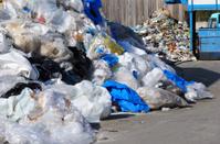 Plastic waste in garbage dump