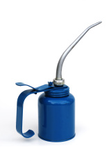 Blue metal oil  can with silver color spout