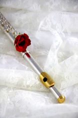 Silver Flute and Red Rose On White Lace
