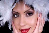 Beautiful Female Model Closeup with Feather Boa