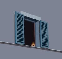 night window with shutters