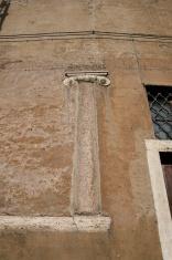 Roman column in a wall ´s house. Rome