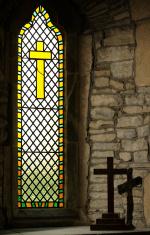 Church Window with Crosses