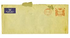Old metered airmail envelope