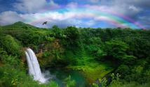 Waterfall With Rainbow in Kauai
