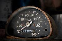 old rusty motorcycle or car speed meter
