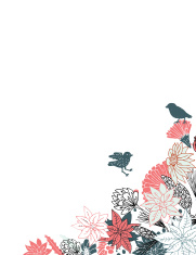 Pretty flower border with birds