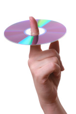 Compact disc on a finger
