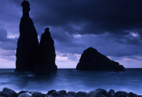 Rocks and sea on a stormy evening