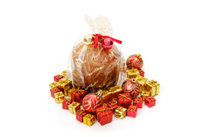 Isolated panettone and ornaments